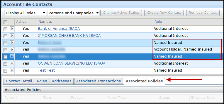 Screenshot of Associated Policies tab on the Account File Contacts