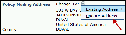 Screenshot of new change to drop-down options in the Policy Mailing Address section