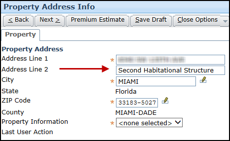 Screenshot of the Second Habitational Structure on Address Line 2