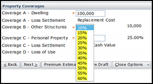 Screenshot of the Coverage B – Other Structures drop-down options for mobile home policies