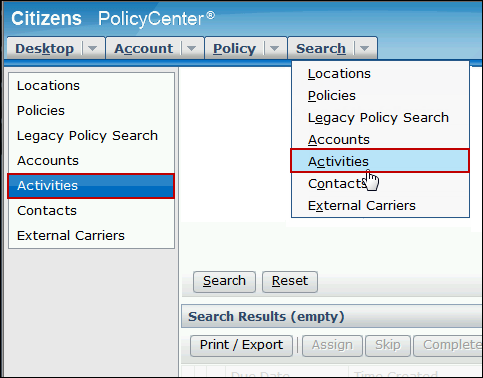Screenshot of the activities search options