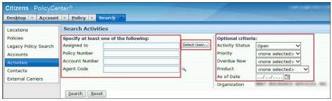 Screenshot of the Search Activities screen