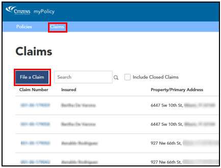 Screenshot of myPolicy Claims screen