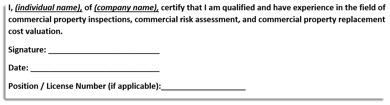 Screenshot of the required statement for other qualified professionals