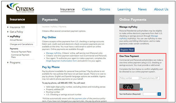 Screenshot of one-time payment option on Payments page